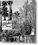 Aloha Hotel Bw Palm Springs Metal Print