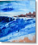 Alone By The Sea Abstract Seascape Metal Print
