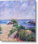 Along The Breachway Rhode Island Metal Print