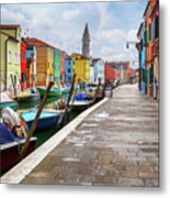 Along The Canal In Burano Island Metal Print