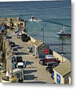 Along The South Pier - Newquay Harbour Metal Print