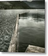 Along The Washington Coast - Dock, Breakwater, And Mountains Metal Print