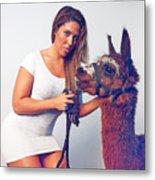 Alpaca Mr. Tex And Breanna Metal Print