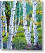 Alpine Flowers And Birches  Metal Print