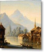 Alpine Lake Scenery With City View Metal Print