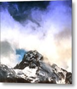 Alpine Mountains And Clouds Watercolour Metal Print