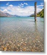 Alpine Scenery From Dart River Bed In Kinloch, New Zealand Metal Print