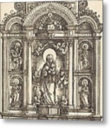 Altar With The Virgin And Child And Saints Christopher, Barbara, George And Catherine Metal Print