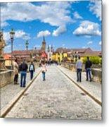 Alte Mainbrucke In The Historic City Of Wurzburg Metal Print