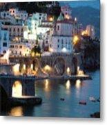 Amalfi Coast At Night Metal Print