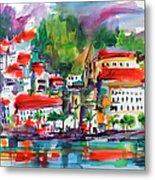 Amalfi Coast Italy Expressive Watercolor Metal Print