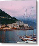 Amalfi Harbor Sunset Metal Print