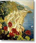 Amalfi Italy Italia Vintage Poster Restored Metal Print