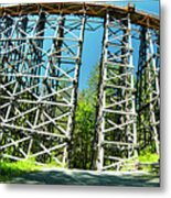 Amazing Kinsol Wooden Trestle Panorama View, Vancouver Island, Bc, Canada. Metal Print