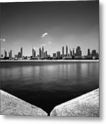 Amazing Panorama Reflection Of Dubai Jumeirah Beach, Dubai, United Arab Emirates Metal Print