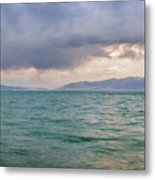 Amazing View Of Azure Sky Over Rippled Surface Of Cold Sea At Sunrise Metal Print