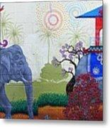 Amazing Wall Art Painting Or Elephants Metal Print