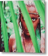 Amazonian Goddess Portrait Of A Wild Looking, Camouflaged Warrior Girl Holding Bow And Arrow Metal Print