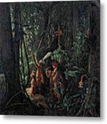 Amazonian Indians Worshiping The Sun God Metal Print