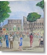 Amber At The Roman Coliseum Metal Print