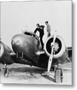 Amelia Earhart Stanind On The Wing Metal Print by Everett