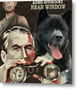American Akita Art Canvas Print - Rear Window Movie Poster Metal Print