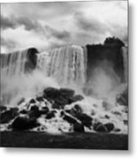 American And Bridal Veil Falls With Luna Island And Deposited Talus Niagara Falls New York State Usa Metal Print by Joe Fox