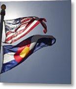 American And Colorado Flags Metal Print