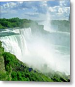 American And Niagra Falls At Niagra Metal Print