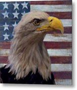 American Bald Eagle And American Flag Metal Print