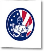 American Barber Usa Flag Icon Metal Print