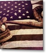 American Baseball Grunge Metal Print