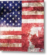 American Canadian Tattered Flag Metal Print