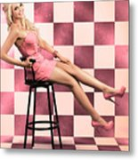 American Culture Pin Up Girl Inside 60s Retro Diner Metal Print