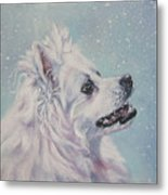 American Eskimo Dog In Snow Metal Print