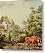 American Farm Scenes Metal Print by Currier and Ives