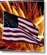 American Flag And Fireworks Metal Print