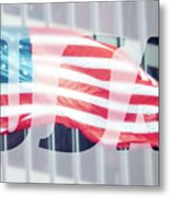 American Flag In Front Of Business Building  Metal Print