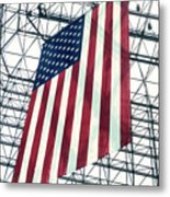 American Flag In Kennedy Library Atrium - 1982 Metal Print