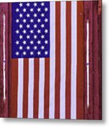 American Flag In Red Window Metal Print