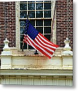 American Flag On An Old Building Metal Print
