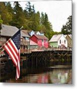 American Flag On Creek Street Ketchikan Alaska Painting Metal Print