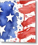 American Flag Watercolor Painting Metal Print