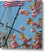 American Flag With Cherry Blossoms Metal Print