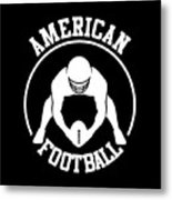 American Football Player With Ball And Helmet Metal Print