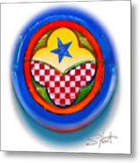 American Happiness Button Metal Print