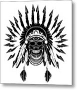 American Indian Skull Icon Background, Black And White  Metal Print