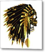 American Indian Skull Icon Background Metal Print