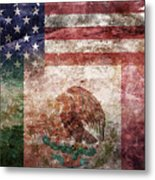 American Mexican Tattered Flag  Metal Print