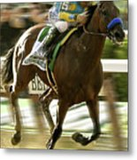 American Pharoah And Victory Espinoza Win The 2015 Belmont Stakes Metal Print